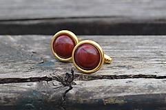 Šperky - Jaspis manžetové gombíky pozlátené striebro - 10564375_