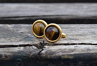 Šperky - Tigrie Oko pozlátené striebro manžetové gombíky - 10564490_
