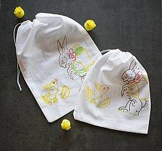 Úžitkový textil - Veľkonočné vrecúško so zajačikom a kuriatkom - 10564079_