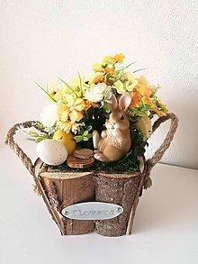 Dekorácie - Veľkonočný jarný aranžmán so zajačikom - 10564285_