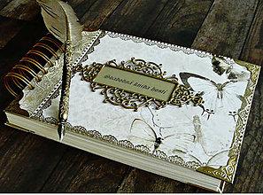 Papiernictvo - Svadobná kniha hostí,fotoalbum,kronika,kniha návštev ELEGANCIA (Vlastný text v rámčeku,napr mená) - 10566066_