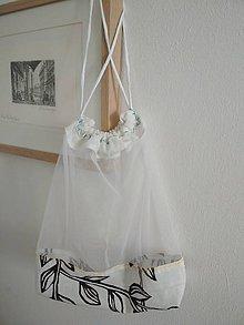 """Úžitkový textil - Bez obalu, nákupné vrecko stredné (Bielo-čierne, """"leafs"""") - 10566219_"""