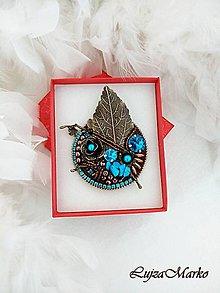 Odznaky/Brošne - Luxusná brošňa tyrkenit - 10565626_