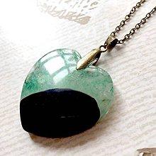 Náhrdelníky - Green Agate Heart Bronze Pendant / Prívesok srdce s drúzovým achátom #2012 - 10566827_