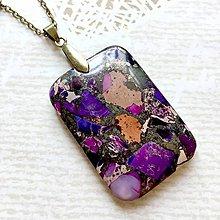 Náhrdelníky - Violet Varsicite Bronze Pendant / Prívesok s fialovým variscitom #2005 - 10566864_