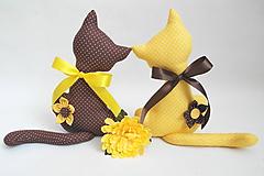 Dekorácie - Hnedo-žltá mačička - 10568832_