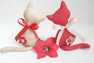 Dekorácie - Mačičky červeno-béžová - 10568823_