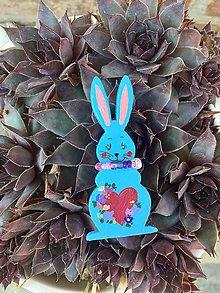 Magnetky - Veľkonočné zajačiky - magnetky (Modrá) - 10568717_