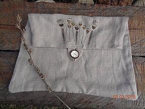 Iné tašky - Ľanové vrecúško - 10567526_