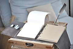 Papiernictvo - Kombinovaný kožený zápisník BRITT - 10567374_