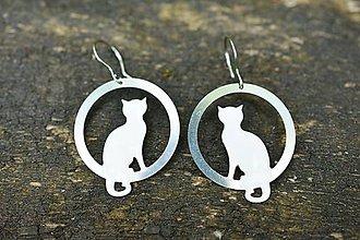 Náušnice - mačky v kruhu - rôzne farby - 10567711_