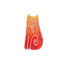 Odznaky/Brošne - červená mačička - 10568089_