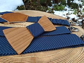 Doplnky - Pánsky drevený motýlik a traky - 10567261_