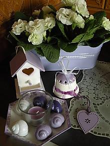 Dekorácie - Sada milých dekorací - lila barva - 10568712_