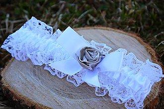 Bielizeň/Plavky - Svadobný podväzok - ruža prírodnej farby - 10567029_