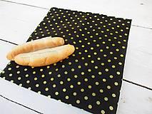 Úžitkový textil - voskovaný obrúsok XL-čierna bodka - 10566561_