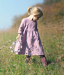 Detské oblečenie - Lněné šatičky Mauve (116) - 10566829_