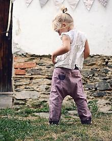 Detské oblečenie - Lněné kapsičkové Mauve - 10566962_