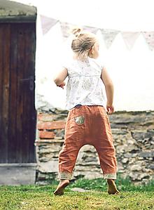 Detské oblečenie - Lněné kapsičkové Zrzavé - 10567101_