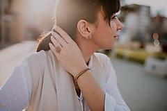 Prstene - BUTTON S matný béžový prsteň - 10567327_