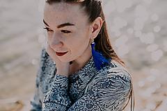 TASSEL Trio - dlhé náušnice so strapcom, modré (Trio - dlhé náušnice so strapcom, modré)