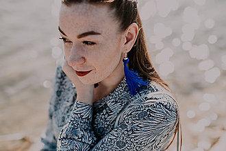 Náušnice - TASSEL Trio - dlhé náušnice so strapcom, modré - 10567350_