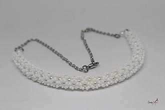 Náhrdelníky - náhrdelník dutinkový polovičný (náhrdelník biely) - 10569491_