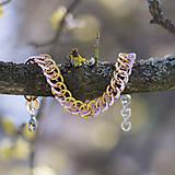 Náramky - Ostré spojení - náramok (světle růžovo-zlaté) - 10569357_