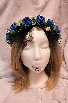 """Ozdoby do vlasov - Svadobný kvetinový venček do vlasov """"kráľovská modrá"""" - 10571110_"""