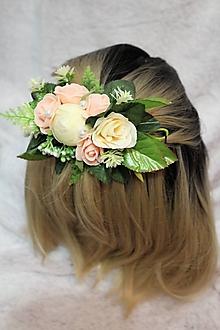 """Ozdoby do vlasov - Kvetinový štvrťvenček do vlasov """"marhuľový"""" - 10571230_"""
