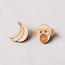 Náušnice - opica ~ napichovačky (opica s banánom) - 10570947_