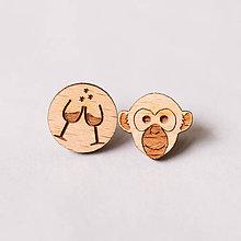 Náušnice - opica ~ napichovačky (opica s vínom) - 10570955_