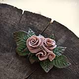 Ozdoby do vlasov - Ružová spona do vlasov - s kvetmi - 10571361_