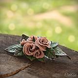 Ozdoby do vlasov - Ružová spona do vlasov - s kvetmi - 10571362_