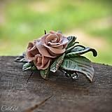 Ozdoby do vlasov - Ružová spona do vlasov - s kvetmi - 10571365_