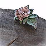Ozdoby do vlasov - Ružová spona do vlasov - s kvetmi - 10571366_