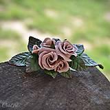 Ozdoby do vlasov - Ružová spona do vlasov - s kvetmi - 10571367_