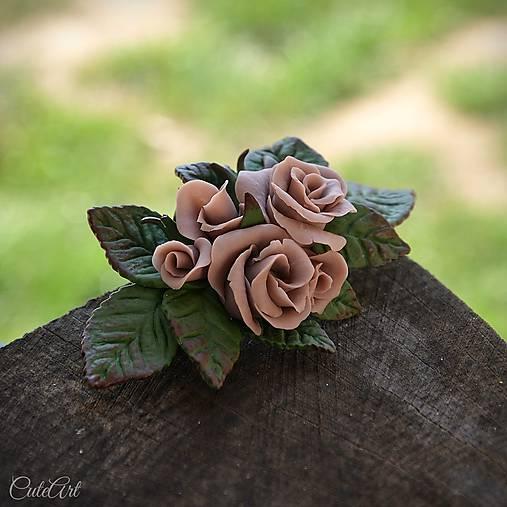 Ružová spona do vlasov - s kvetmi