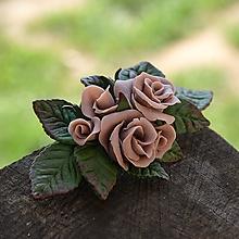 Ozdoby do vlasov - Ružová spona do vlasov - s kvetmi - 10571368_