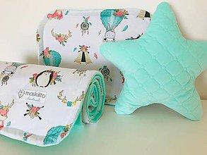 Textil - Detska deka a vankus minky velvet mentolova - 10570656_