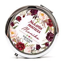 Zrkadielka - Zrkadielko pre kamarátku - marsala kvety - 10568974_