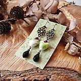 Antické náušnice s ornamentami, srdciami, kvapky, zelená, fialová, brondz