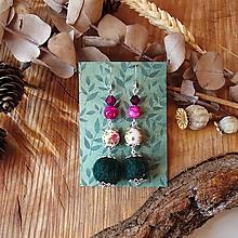 Náušnice - Chutné chlpaté balbuľky - náušnice, cyklamenová, ružová, zelená, minerál, ruže, striebro - 10569608_