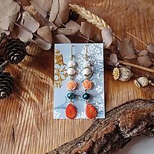 Náušnice - Pastelové náušnice s keramickými lístkami, ruže, marhuľová, biela, tyrkys - 10570133_