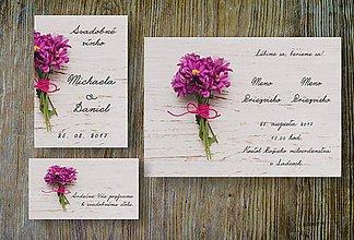 Nezaradené - Svadobné oznámenie Lúčne kvety na dreve - 10569631_