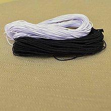Galantéria - 1mm guma, biela/čierna gumička na náramky, náhrdelníky - 10570406_