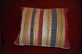 Úžitkový textil - Tkaná obliečka na vankúš červeno-čierno-žltá - 10570796_