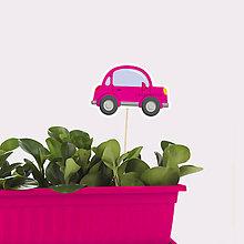 Detské doplnky - Zápich do kvetináča auto bez obrysov (okrúhle trojdverové) - 10569078_