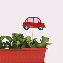 Dekorácie - Zápich do kvetináča auto s obrysmi (okrúhle päťdverové) - 10569923_
