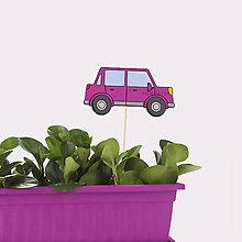 Dekorácie - Zápich do kvetináča auto s obrysmi (hranaté päťdverové) - 10569924_